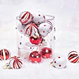 Valery Madelyn 16 Stücke 2CM Glas Weihnachtskugeln Rot Weiß Lieber Weihnachtsmann Thema Christbaumkugeln Set mit Aufhänger Weihnachtsbaumschmuck Weihnachtsdekoration