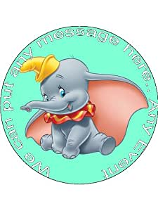 Edible Icing Toppers - Dumbo Green 7.5 Inch Edible Personalised (3 Ruffle)