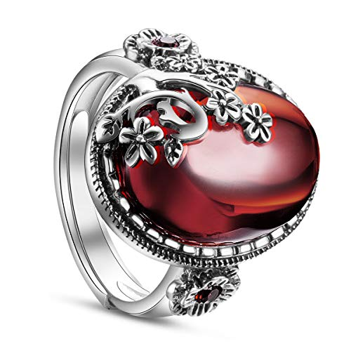 SHEGRACE Damen Vintage Ring aus 925er Sterlingsilber mit Granatapfelblüte und Ovalem Granat Fingerring, Erhältlich, 19 mm, Verstellbar