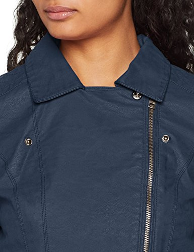 ONLY Damen Jacke onlSAGA Faux Leather Biker CC OTW, Blau Insignia Blue, 34 - 3