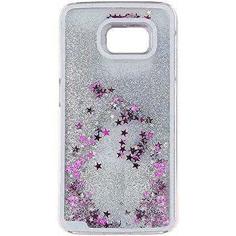 Gracioso Bling Glitter con estrellas arenas movedizas dinámica plástico Duro líquido protector teléfono Carcasa Funda para Samsung Galaxy S6 borde plata