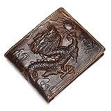 Herren Leder Vintage Braun Geldbörse Druck Drache 2 Falten Querschnitt Brieftasche