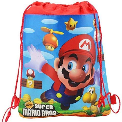 Super Mario Luigi - Sacca con chiusura a cordoncino, in polietilene, borsa per il pranzo, vari modelli, regalo natalizio Red