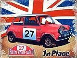 """Mini Cooper """"s"""". Rally Monte-Carlo. 1st lugar. Union Gato Británico clásico coche Rally coche Rojo,número 27. Italiano Ho. deporte. Coche Motor,carreras,vehículo. Años 60. casa,hogar,garaje,vertiente/"""