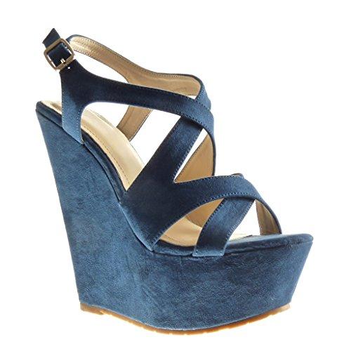 Angkorly Damen Schuhe Sandalen Mule - Plateauschuhe - String Tanga Keilabsatz High Heel 15 cm - Blau 6699-2 T 39
