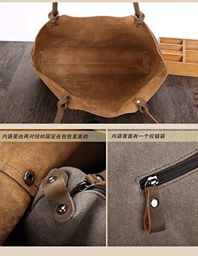 Meijia-Borsa a spalla in pelle, stile Vintage, motivo borsette e i portamonete da donna Tote-Borsa a tracolla Marrone (Grigio)