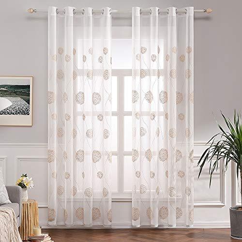 Miulee voile tenda finestra con occhielli a pannello tende trasparenti per soggiorno e camera da letto 2 pannelli 140 x 260 cm flora marrone