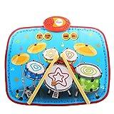 Lommer Musik Spielzeug, Kinder Schlagzeug Musik Matte Drum Teppich Musikmatte Tanzmatten Musikteppich Musikinstrumente mit 2 Drumsticks für Kinder Kleinkind 2, 3 Jahre