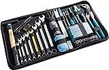 Hazet Premium Ledertasche (Flexible Einsatzmöglichkeiten für Haushalt und Werkstatt, inkl. Hammer, Zange, Ring-Maulschlüssel, Bit-Satz, 1/4' Umschaltknarre, 64 Werkzeuge) 1520/64