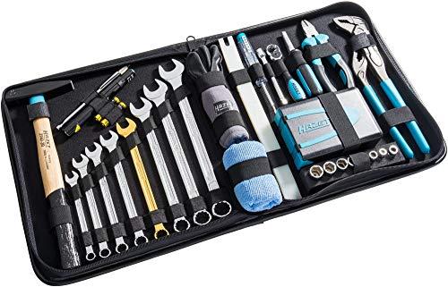 Hazet Premium Ledertasche (Flexible Einsatzmöglichkeiten für Haushalt und Werkstatt, inkl. Hammer, Zange, Ring-Maulschlüssel, Bit-Satz, 1/4″ Umschaltknarre, 64 Werkzeuge) 1520/64