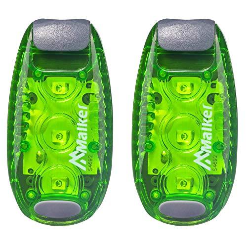 tslicht Set Sicherheit Licht Blinklicht für Nachtläufer Bergsteiger Kinder Kinderwagen Student Hunde mit Batterien Clip und Klettband Dauerlicht und Blinklicht 2er Pack Grün ()