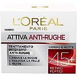 L'Oréal Paris Crema Viso Anti-Rughe Attiva 45+, Trattamento Intensivo Anti-Rughe, Rassoda e Nutre la Pelle, 50 ml, Confezione
