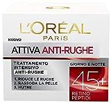L'Oréal Paris Crema Viso Anti-rughe Attiva 45+, Trattamento Intensivo, Rassoda e Nutre la Pelle, 50 ml, Confezione da 1