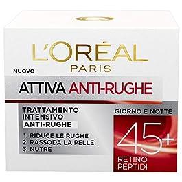L'Oréal Paris Crema Viso Anti-Rughe Attiva 45+, Trattamento Intensivo Anti-Rughe, Rassoda e Nutre la Pelle, 50 ml…