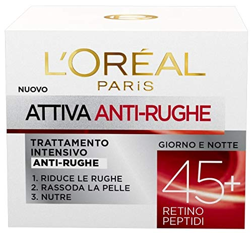 L'Oréal Paris Attiva Antirughe 45+ Crema Viso Donna Antirughe Intensiva Giorno e Notte con Retino...