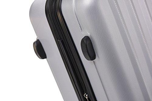 BEIBYE TSA-Schloß 2080 Hangepäck Zwillingsrollen Reisekoffer Koffer Trolley Hartschale Set-XL-L-M(Boardcase) (Silber, M) - 6