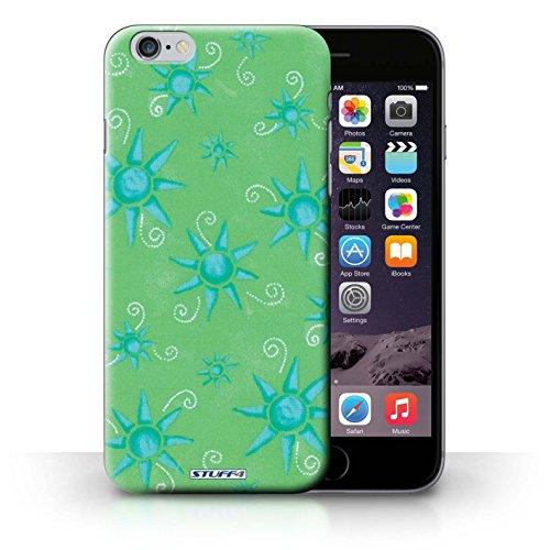 Kobalt® Imprimé Etui / Coque pour iPhone 6+/Plus 5.5 / Vert/Blanc conception / Série Motif Soleil Vert/Bleu