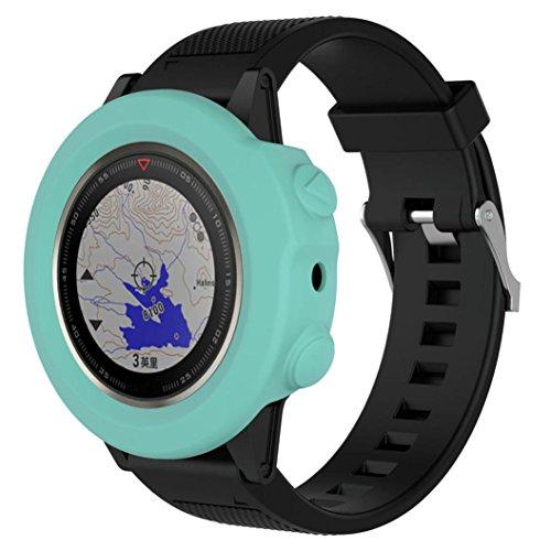 Signore orologio digitale,sonnena custodia sostitutiva in silicone sottile per orologio garmin fenix 5x gps orologio fitness uomo orologio sport orologio legno polso (cielo blu, standard)