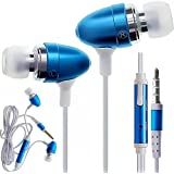 CellBig Spicy Blue In Ear Audio Headphones Earphone Headset Hands Free Included Mic In-Line Remote Lightweight For Your HTC Whitestone / Wildfire / CDMA / S / Windows Phone 8S / 8X