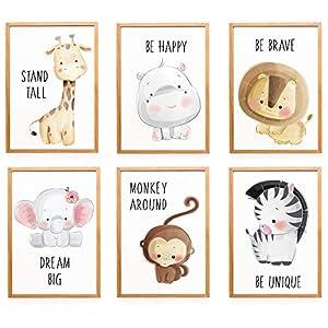 WIETRE® 6er Set Bilder Tiere Kinderzimmer Babyzimmer Deko | Bild Junge Mädchen Poster DIN A4 | Waldtiere Safari Afrika…