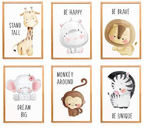 WIETRE® 6er Set Bilder Tiere Kinderzimmer Babyzimmer Deko   Bild Junge Mädchen Poster DIN A4   Waldtiere Safari Afrika Tiere Tierposter Dekoration - ohne Rahmen