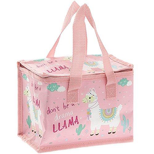 Llama Lunch-Tasche, Kühltasche, Aufschrift: Don't be a Drama Llama, thermo-isolierte Tasche mit Folienfutter, Reißverschluss und Tragegriffen (Flache Interior Tasche)