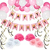 NextDeko Hochwertige Geburtstag Deko Rosa Weiß - Happy Birthday Girlande, Geperlte Ballons, Pompoms, Spiralen - Geburtstagsdeko Party Deko Kindergeburtstag Zubehör Set Mädchen Frauen