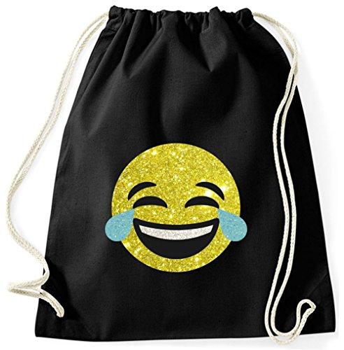 BlingelingShirts Turnbeutel Smiley Gymsack Jutebeutel Sportbeutel Hipster Smiley Emoji Tränen Lachen