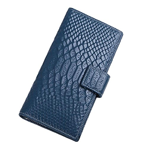 Jia Qing Dame Wallet Two Fold Wallet Soft PU Große Kapazität Cross Section Hand Tasche,Blue-OneSize (Fold Two Wallet Leder)