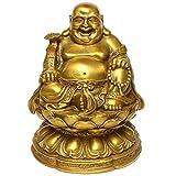 Feng Shui latón Buddha sonriente sentado en flor de loto Maitreya Estatua Hogar Decoración Adorno Interior BS085