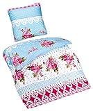 Aminata – Verspielte Bettwäsche 135x200 cm Baumwolle + Polyester + Reißverschluss Blumen Bettbezug Rosa Blau Weiß Rosen Punkte Karos Ornamente Landhausstil 2-teiliges Bettwäscheset Bezug Mädchen