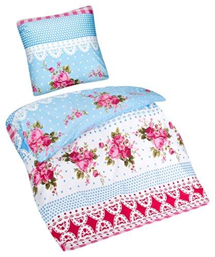 Aminata – Verspielte Bettwäsche Blumen Landhausstil 135x200 cm Baumwolle + Polyester + Reißverschluss