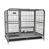 SL&ZX Perro perreras y cajones para Medianas y Grandes Perros,Jaula del Animal doméstico Perro Plegable Caja Metal Perro-A 110x72x95cm(43x28x37inch)