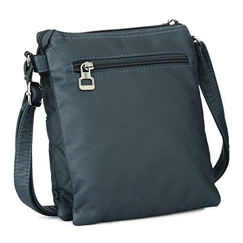 Leichte Lederhandtasche Crossbody Messenger Bag Umhängetasche für Damen Herren Dunkelgrün