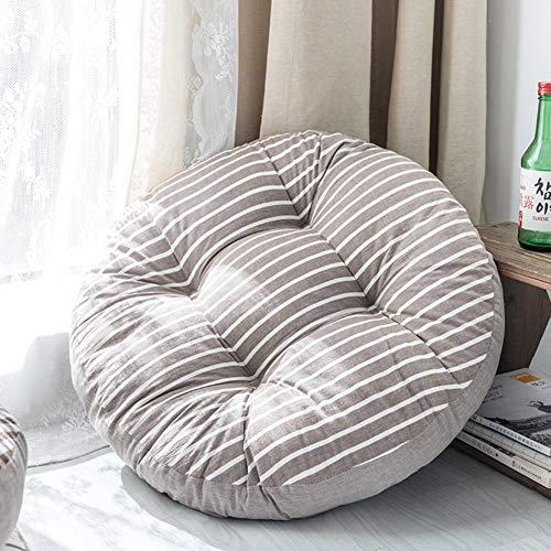 ZMIN Runde Baumwolle Sitzkissen,verdicken Sie Gingham Waschbar Sitzpolster Sitzkissen Japaner Futon Weiche Tatami Bodenbeläge Kissen Für Yoga Pet Home Terrasse-h Durchmesser:55cm(22inch) -
