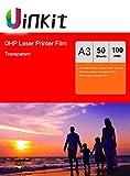 Uinkit Lucidi per lavagna luminosa, fogli trasparenti di pellicola OHP in formato A4 per stampante laser e fotocopiatrice A3 x 50 Sheets