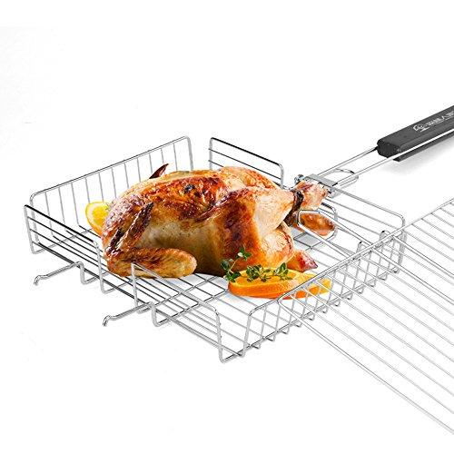 Scharnier Rack (CHEYAL Camping Grill Korb, BBQ-Ordner Braten Fisch Fleisch Scharnier Rack Grill Werkzeug Mit Abnehmbarem Holzgriff, 64,5 X 31 X 5,5 cm)