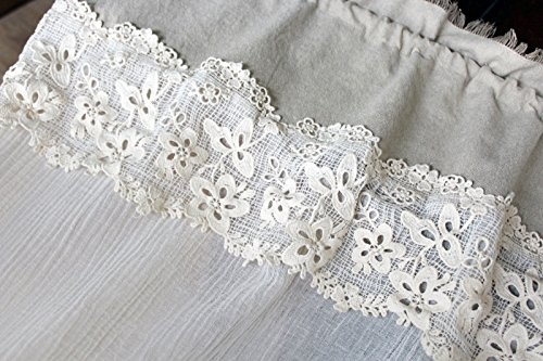Rustikal Vorhänge Leinen (Seiten-Schal in Leinenoptik und Baumwolle Spitze in Creme Shabby Chic Vintage 150x90)