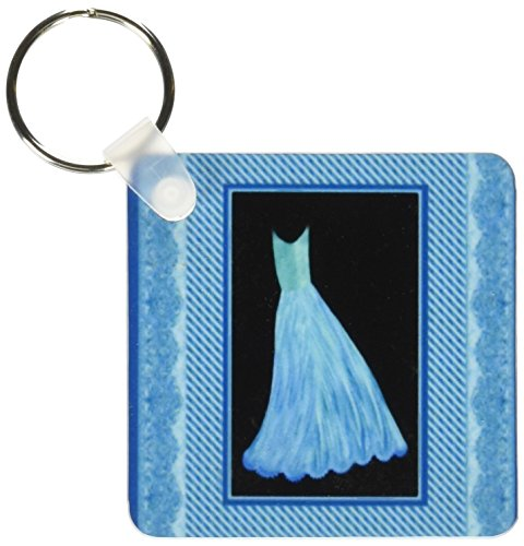 3drose Turquoise Dress On Black Background With Striped Frame And Damask Ribbons - Key Chains, 2.25 X 4.5 Inches, Set Of 6 (Kc_30293_3)