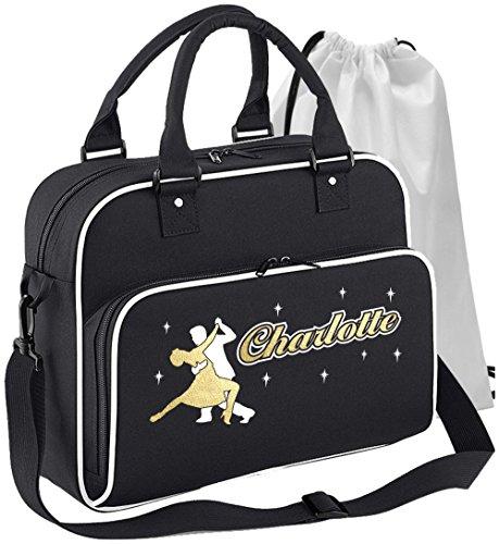 (MusicaliTee Ballroom - Dancing Couple - SCHWARZ + Weißes White - Personalisierte Tanztasche & Schuh Tasche Dance Shoe Bags)