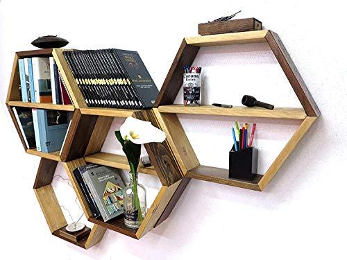 N. 1 scaffale esagonale personalizzabile e componibile, mensola a nido d'ape a parete, realizzato con listoni in abete <>upcycling design, libreria, ripiano.