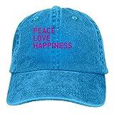 Peace Love Happiness Denim Baseball Caps Hat Adjustable Cotton Sport Strap Cap for Men Women