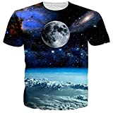 Funnycokid Teenage Girls Tee Shirt 3D Digital Printing Planet Casual Womens T Shirts