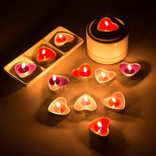 Ailiebhaus 50 Teelicht Set romantische Herz Kerzen Schwimmkerzen