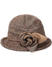 d20456b7e97b4 Sombreros de bombín para Las Mujeres Plegable de Lana Sentido de ala Ancha  Cinta Flor de Invierno Sombreros Flojos…