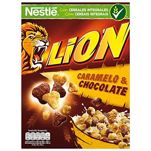 Cereales Nestlé Lion - Cereales de trigo y arroz tostados con crema de caramelo y chocolate - 16 paquetes de 400g
