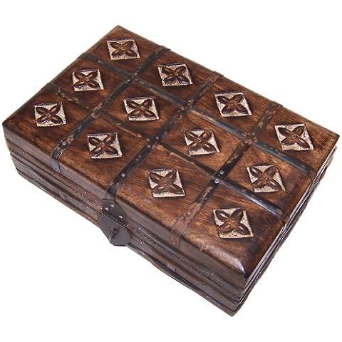 Cofre joyero caja de madera aprox. 22x15x9cm almacenamiento