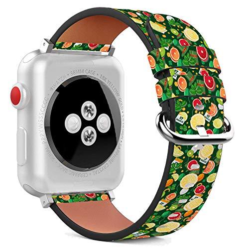 MysticBand Für Apple Watch 44mm / 42mm Armbänder Uhrenarmband Ersatz Lederarmband mit integriertem Armband Adaptors - Gelbe Zitrus Orange - Zitrus-band