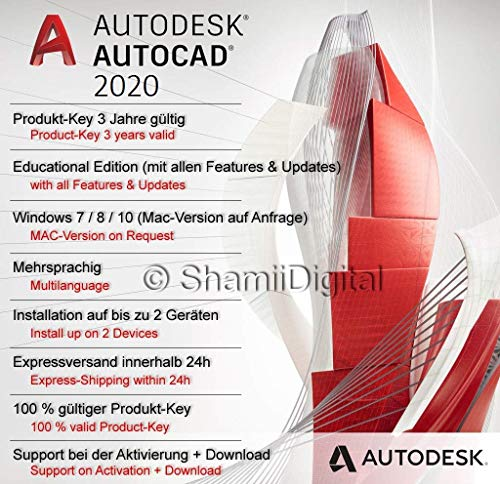 Autodesk AutoCAD 2020 | Digitale Software-Lizenz / 3 Jahre | Windows (nur 64-bit) | Expressversand 24h | inkl. Download-Zugang