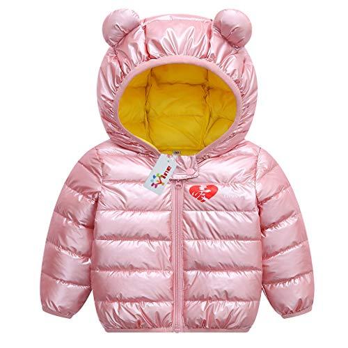 Jiamy bambino inverno giacche cappotto con cappuccio ragazzi ragazze leggero giubbotti rosa 80cm